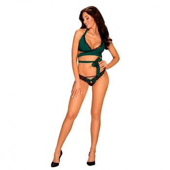 Obsessive Sensuelia zaļš apakšveļas komplekts - Obsessive - Sensuelia Top & Thong Green S/M
