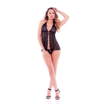 BARELY BARE OPEN FRONT BABYDOLL BLACK