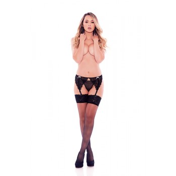 BARELY BARE GARTER BOWS & PANTY BLACK