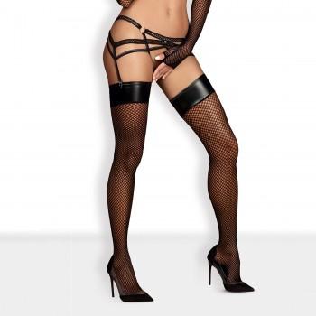Obsessive Darkie melnas tīkliņzeķes bez silikona - Obsessive - Darkie Stockings Black L/XL