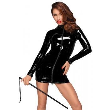 Noir Handmade melna lakādas minikleita ar garām piedurknēm - Noir Dress Zip XL